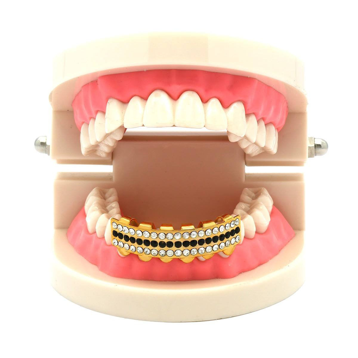 GOLD BOTTOM GRILLZ 3 ROW CLEAR/BLK
