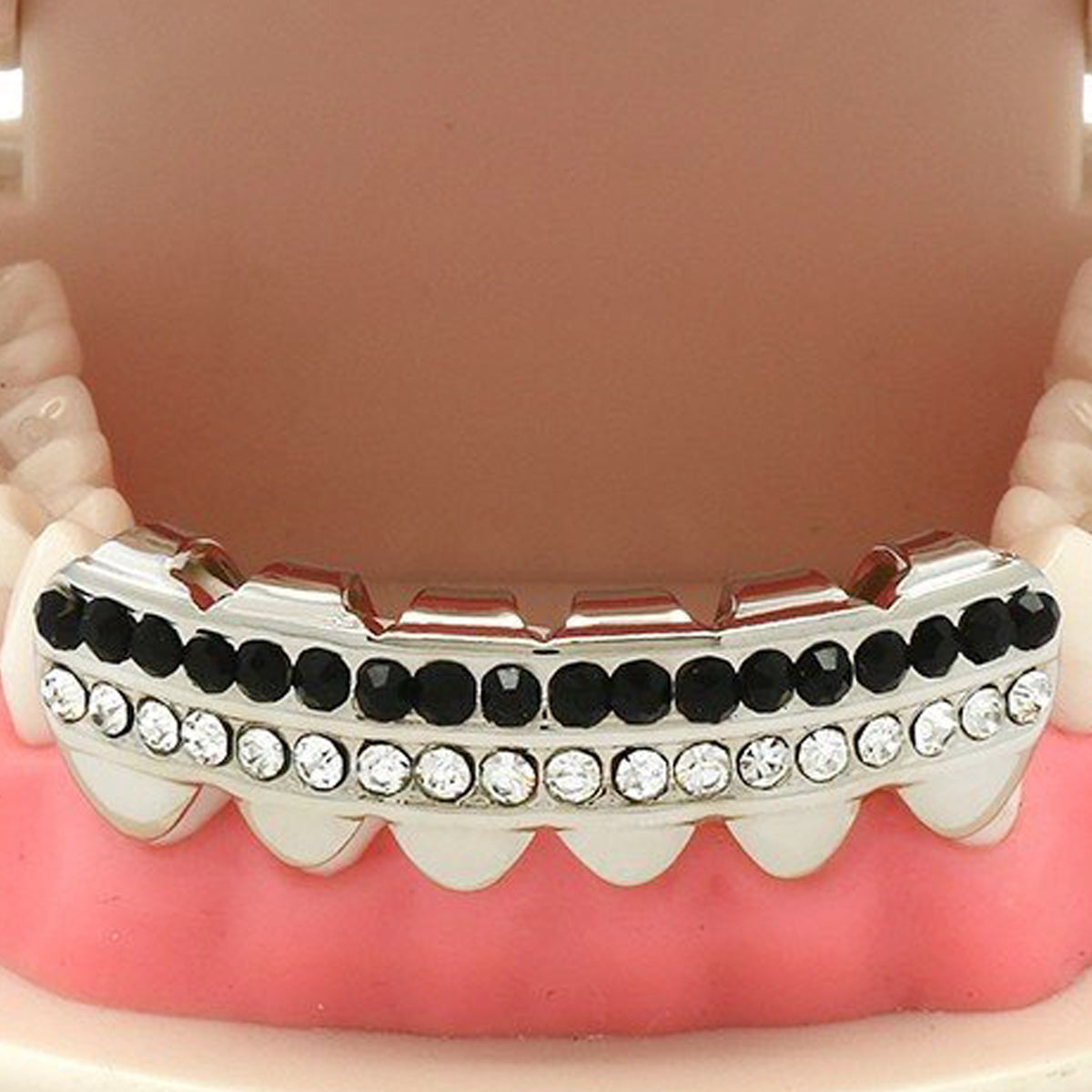 SILVER BOTTOM GRILLZ 2 ROW BLACK