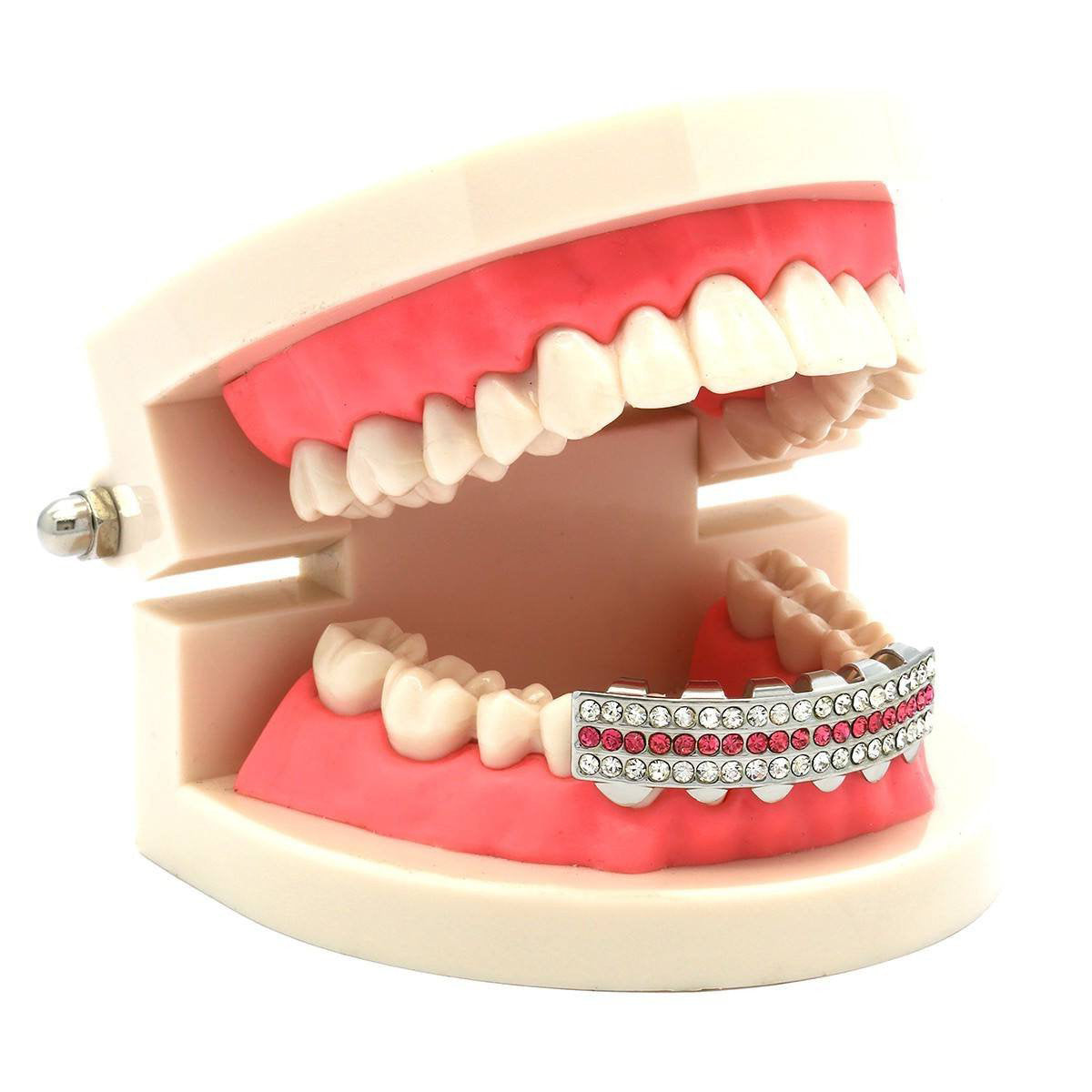 SILVER BOTTOM GRILLZ 3 ROW PINK