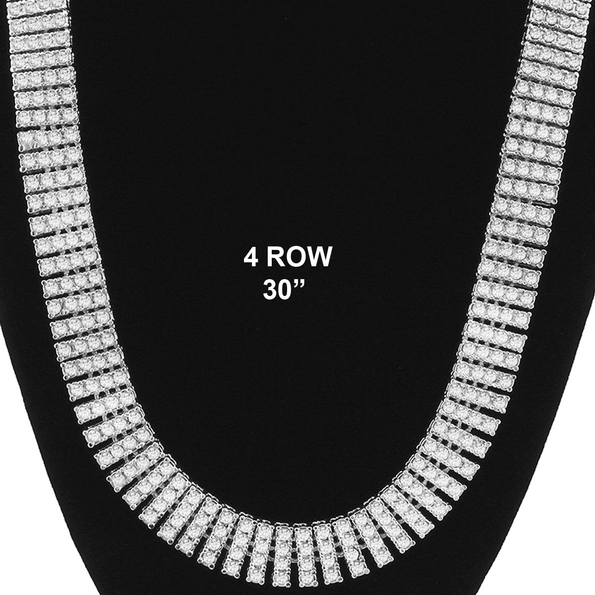 4 ROW ICED-OUT TENNIS SILVER CHAIN 30""