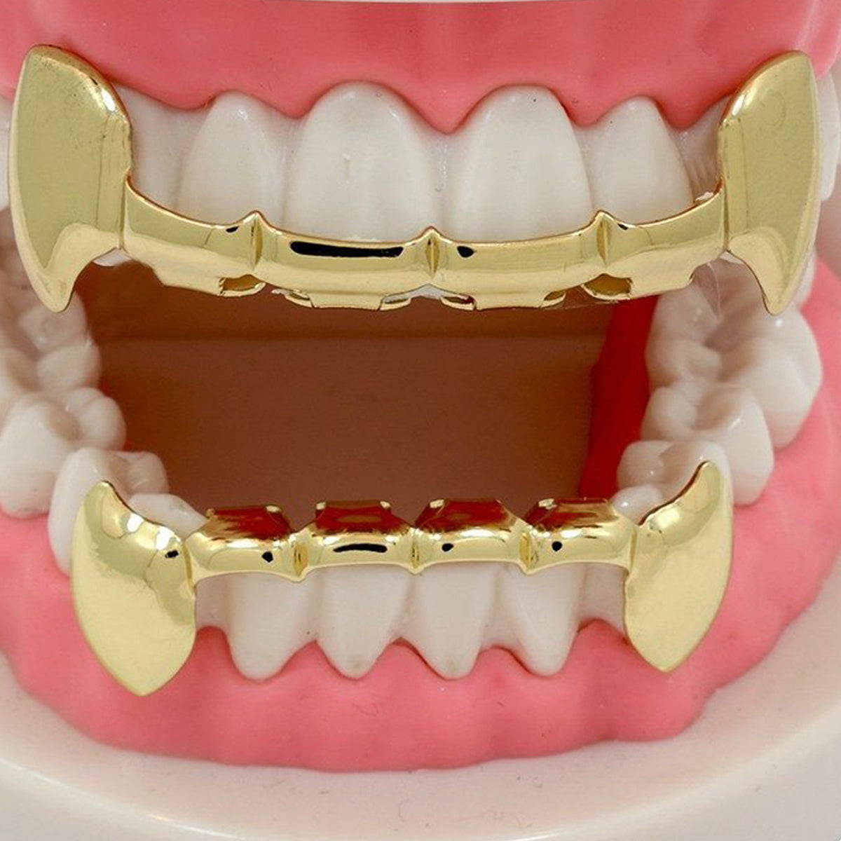 GRILLZ SET GOLD HALF FANG BLINGKING
