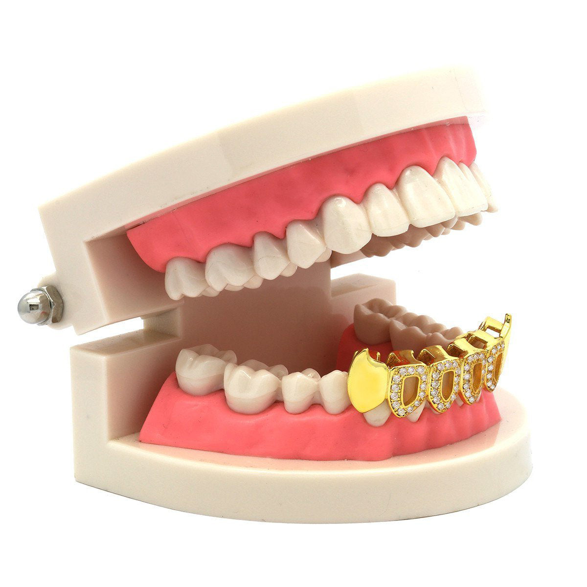 GOLD BOTTOM GRILLZ 4 OPEN CZ FANG