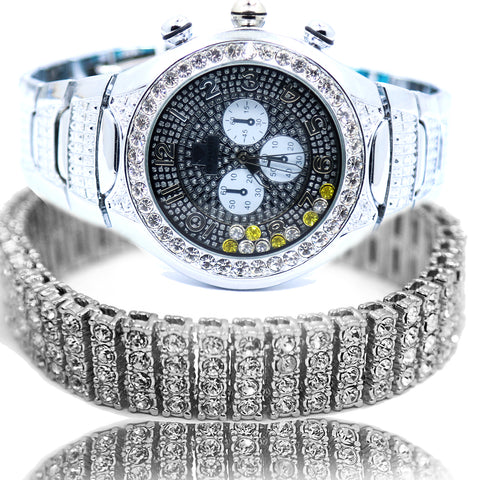 White Gold Ice Out Ice Master Watch & Bracelet SET 9 Black