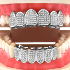 GRILLZ SET MICRO PAVE FULL CZ SILVER
