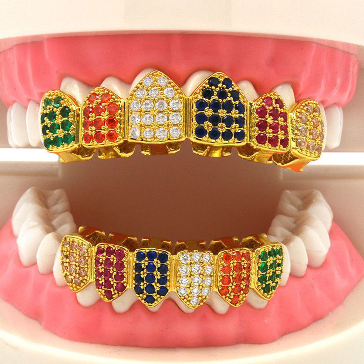 GRILLZ SET GOLD MULTI COLOR