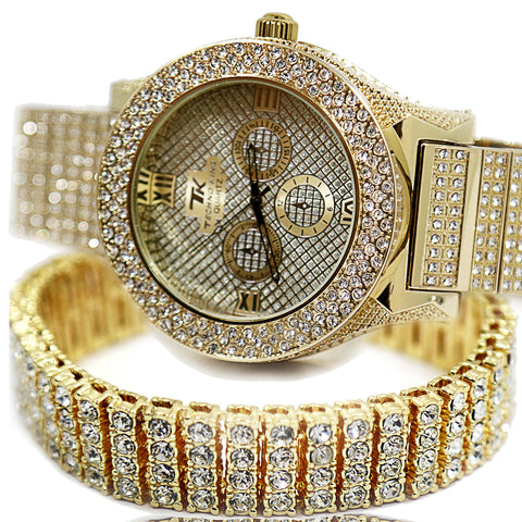 TK Gold Ice Out Techno KING Watch & Bracelet SET