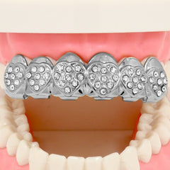 SILVER TOP GRILLZ HEARTS