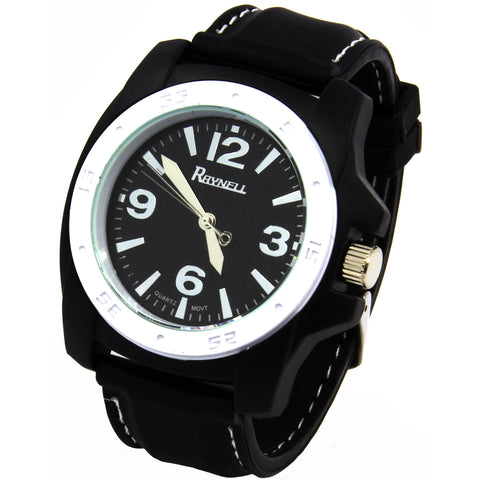Black White Silicone Band Watch