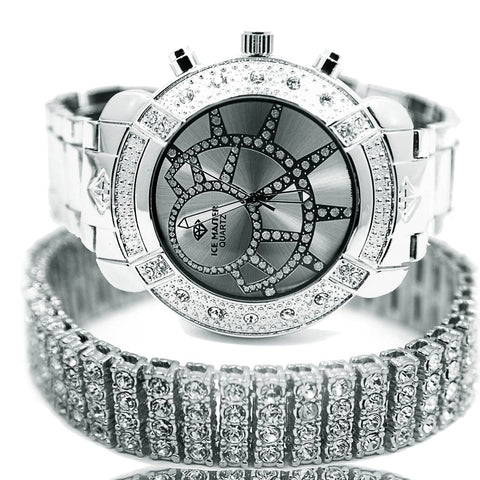 White Gold Ice Out Ice Master Watch & Bracelet SET 7