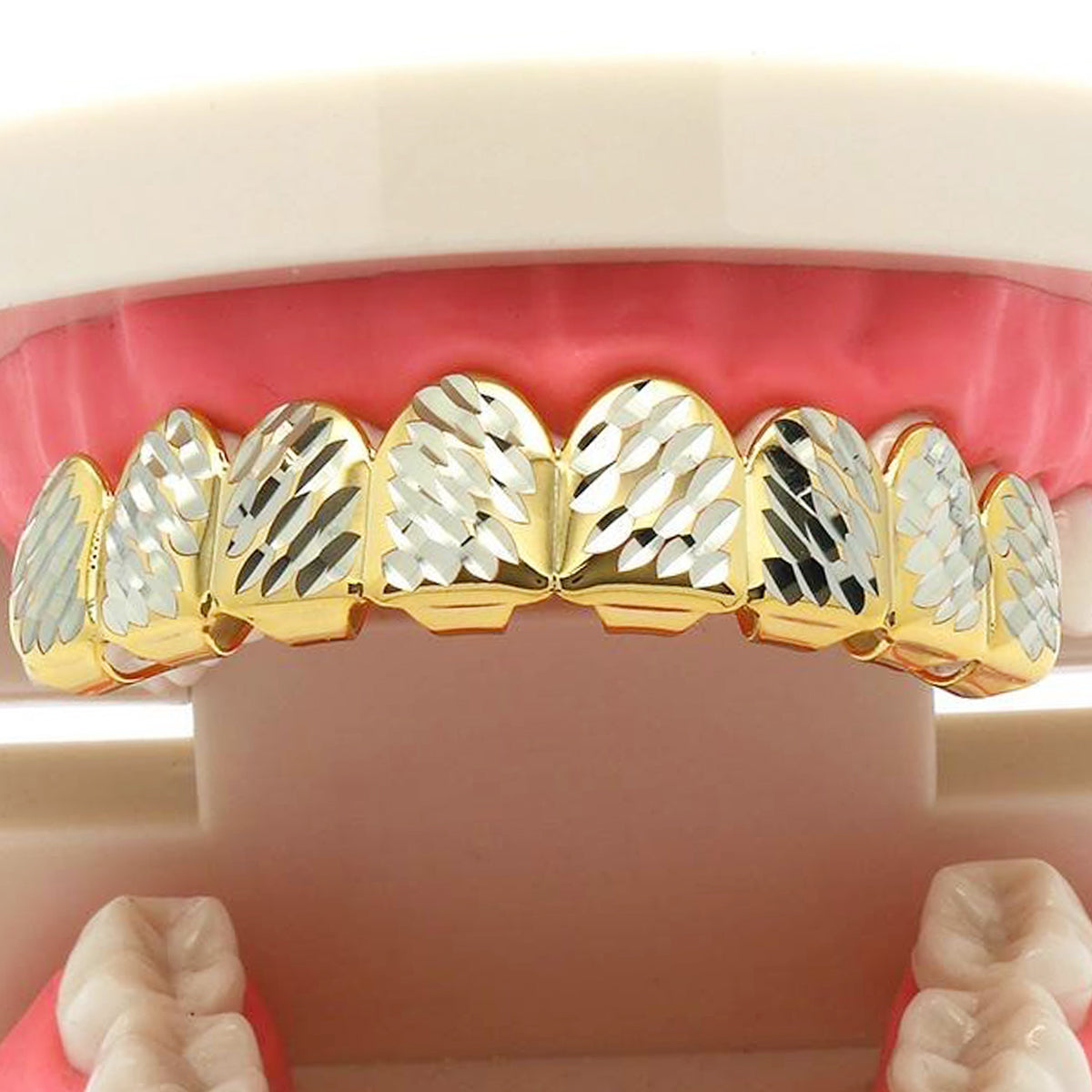 GOLD TOP GRILLZ 8 TOOTH SIDE DIAMOND CUT W/ SILVER