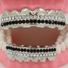 GRILLZ SET RHODIUM 2 ROW BK/CLEAR