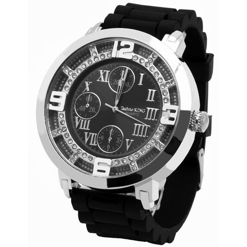 Silver Ice Out TK Black Silicone Band Watch