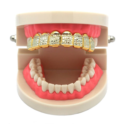 GOLD TOP GRILLZ 8 TOOTH DIAMOND CUT W/ SILVER