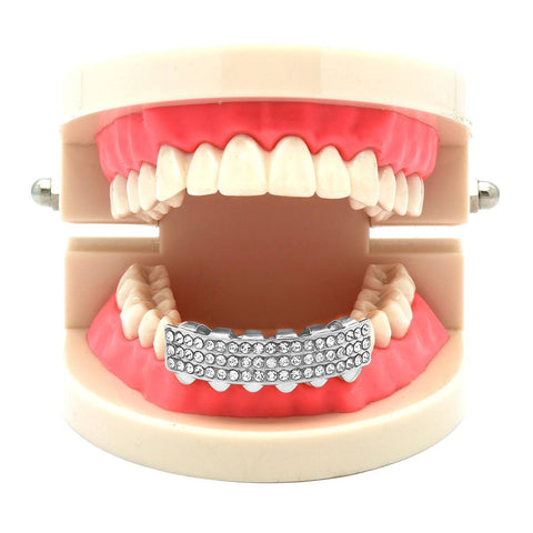 SILVER BOTTOM GRILLZ 3  ROW