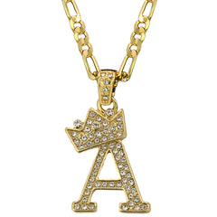 FIGARO CHAIN ALPHABET PENDANT CROWN MINI A-Z