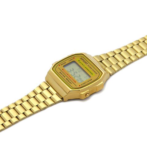 Gold Metal Digital Watch