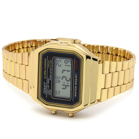 Gold Black Metal Digital Watch