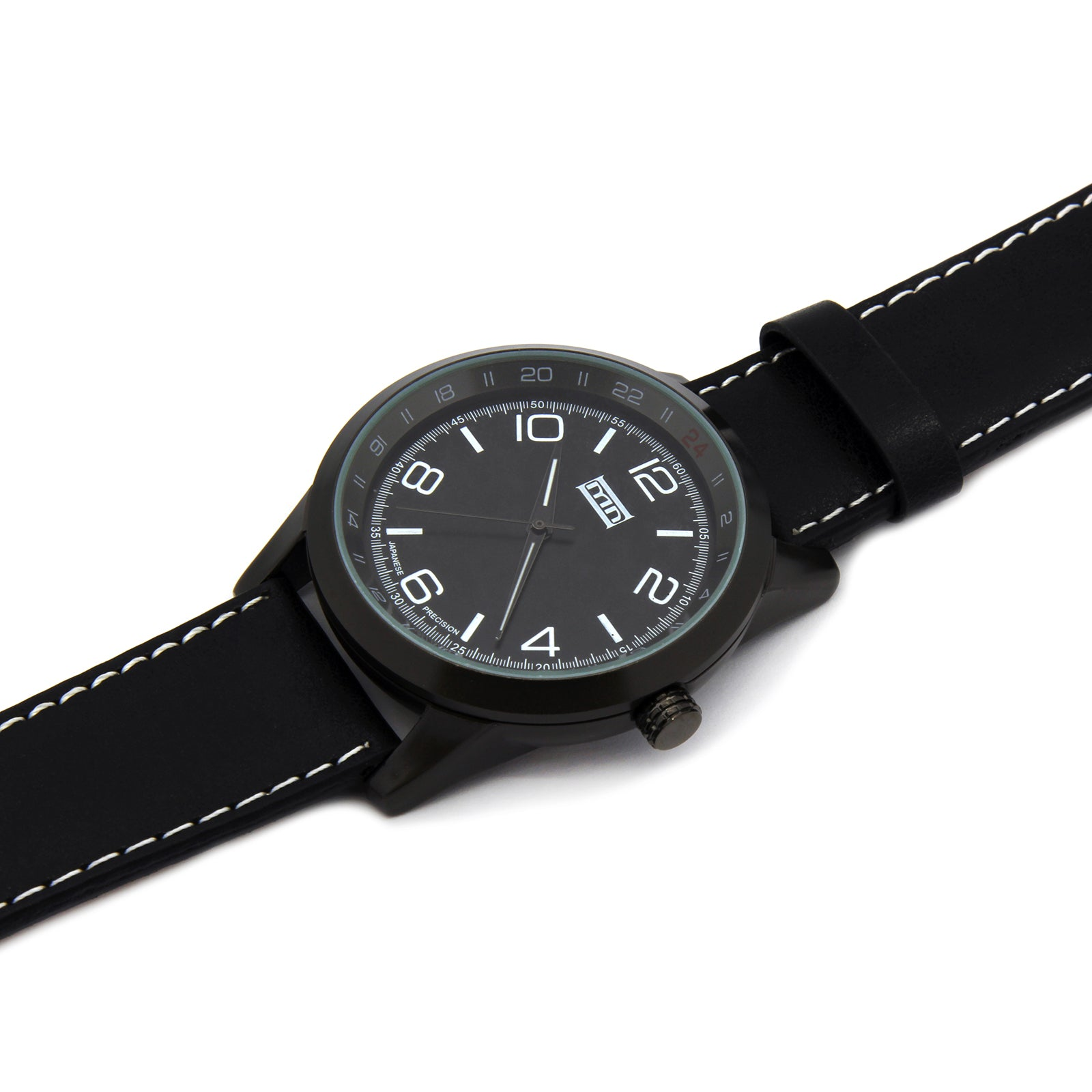 MN Black Leather Band Watch