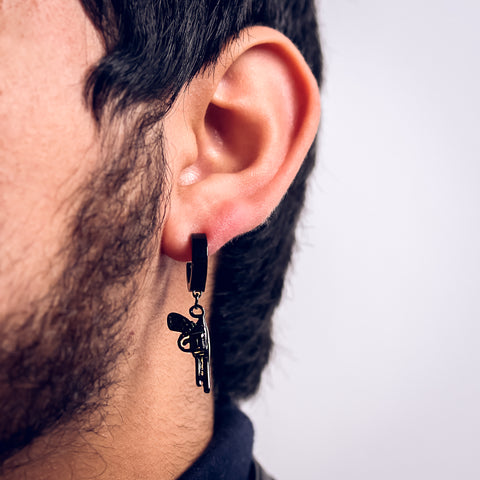 Revolver Hoop Earring Black Plated Stainless Steel