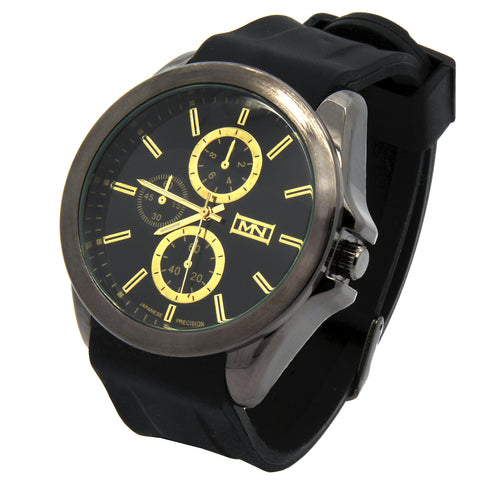 Mark Naimer Black Silicone Band Watch