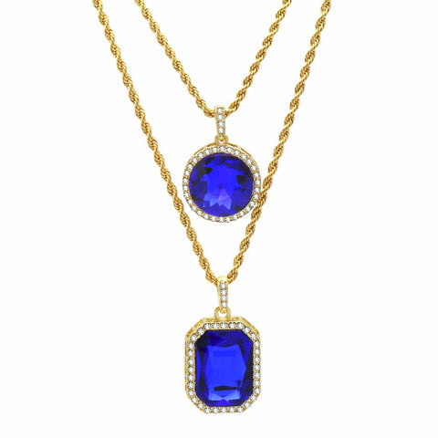 2 BLUE SAPPHIRE PENDANT WITH CUBAN CHAIN