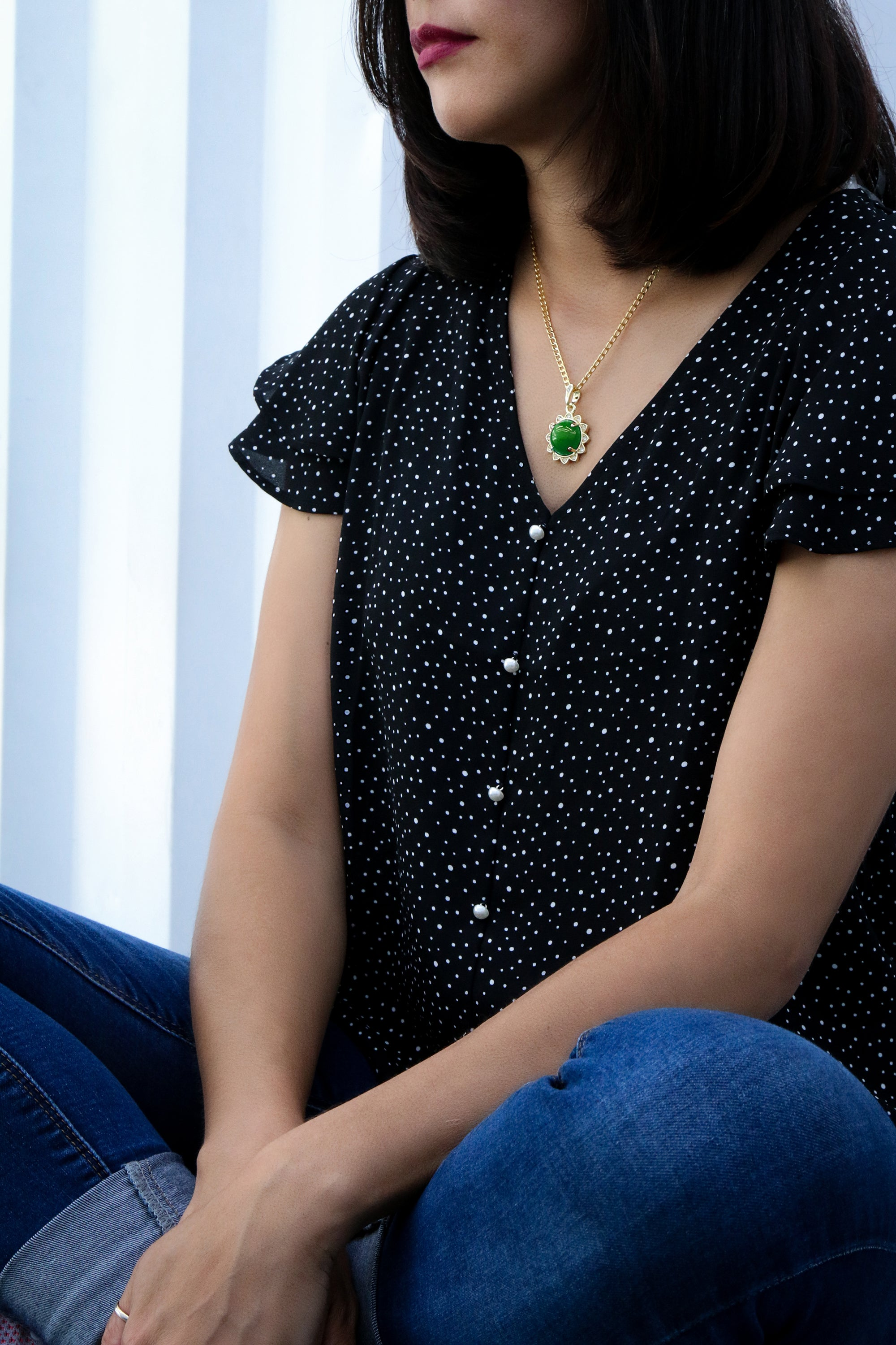Green Round Women's Jade Chain Pendant Necklace