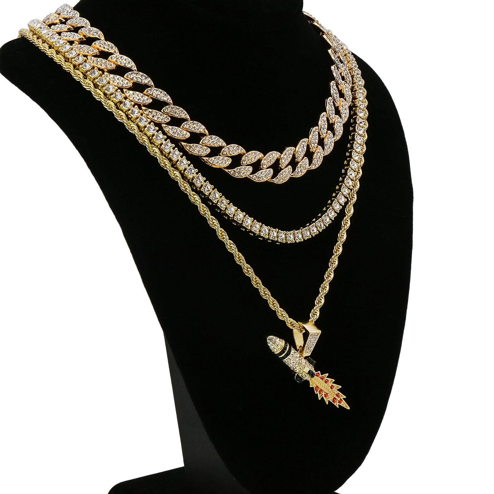 Rocket 4 Pcs Set Cuban, Tennis Clear Cz & Rope Chain Bundle Gold PT