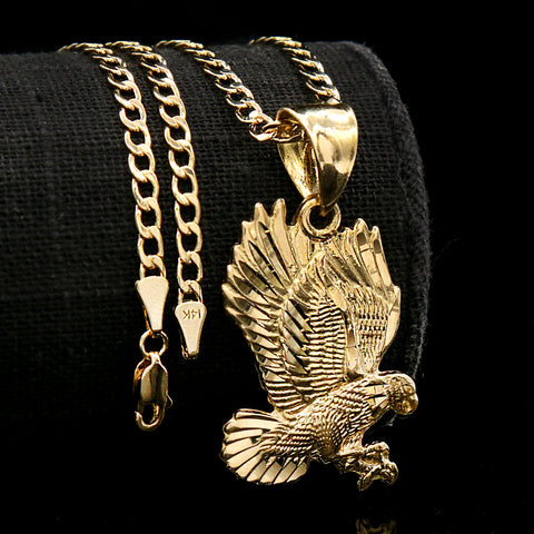 Eagle Diamond Cut Pendant Cuban Choker Chain 14k Gold Plated