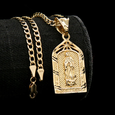 Virgin Mary Temple Diamond Cut Pendant Cuban Choker Chain 14k Gold Plated