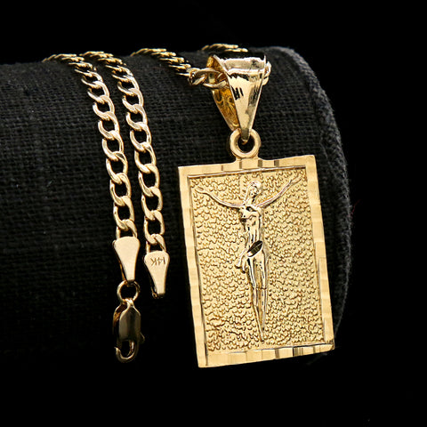 Square Jesus Diamond Cut Pendant Cuban Choker Chain 14k Gold Plated