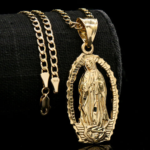 Holy Mary Pendant Cuban Choker Chain 14k Gold Plated