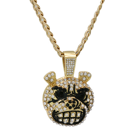 "Exquisite Fully Iced Mad Dog Face Head 14k Gold PT Pendant 24"" Cuban Chain"