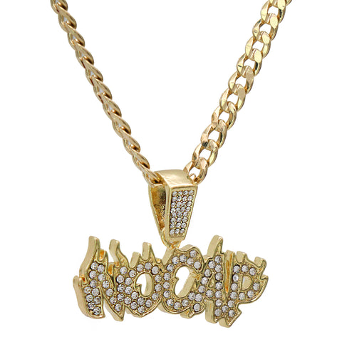 "Fully Iced "" NO CAP "" Fire Letter 14k Gold PT Pendant / 6mm 24"" inches Cuban Chain"