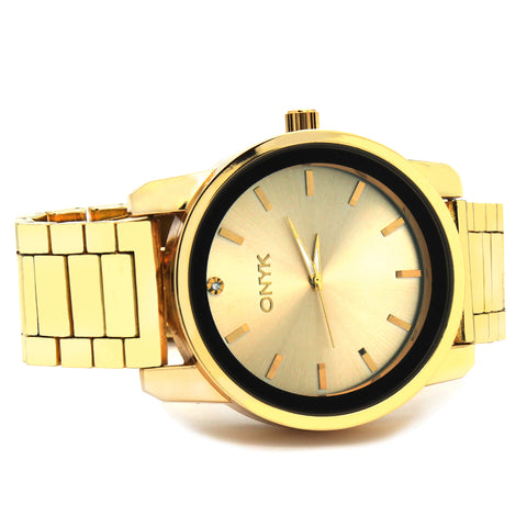 Gold ONYK Single Stone Metal Band Watch