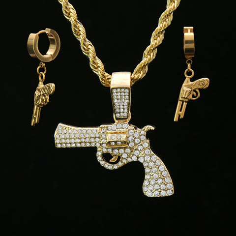 "Fully Cz Revolver & Huggie Hoop Revolver Gun Earrings 14k Gold Plated 4mm 24"" Rope Chain"