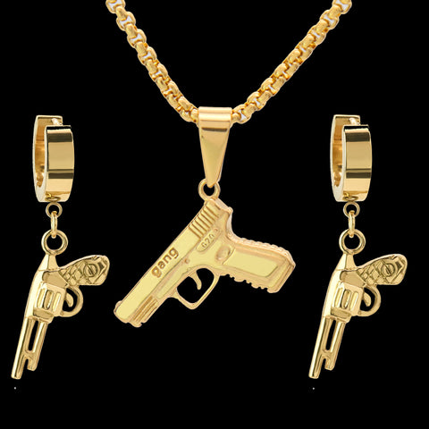 "SST Gold Pistol Gun 24"" Cuban Chain/Huggie Hoop Revolver Gun Dangle Earring 2pc Set"