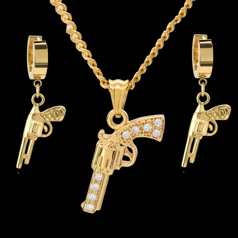 "SST Gold Cz Revolver Gun 24"" Cuban Chain/Huggie Hoop Revolver Gun Dangle Earring 2pc Set"