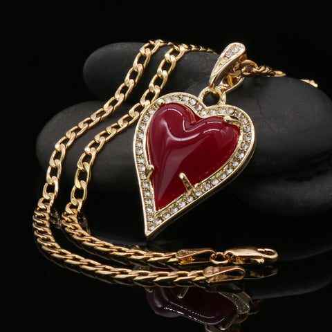 Red Heart Women's Jade Chain Pendant Necklace