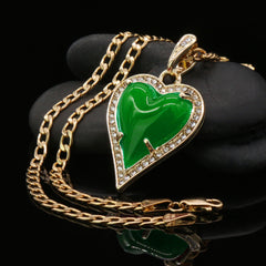 Green Heart Women's Jade Chain Pendant Necklace