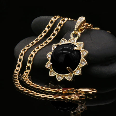 Black Round Women's Jade Chain Pendant Necklace