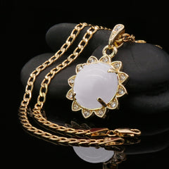 White Round Women's Jade Chain Pendant Necklace
