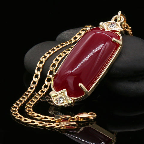 Red Cylinder Women's Jade Chain Pendant Necklace