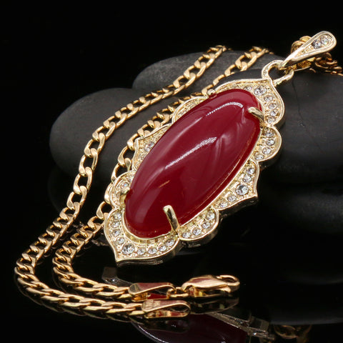 Red Oval Women's Jade Chain Pendant Necklace