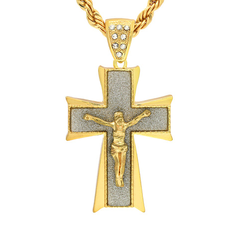 Copy of 14k Gold Filled Stardust Jesus Hang Cross Pendant with Rope Chain