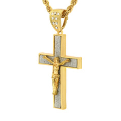 14k Gold Filled Stardust Jesus Hang Cross Pendant 2 with Rope Chain