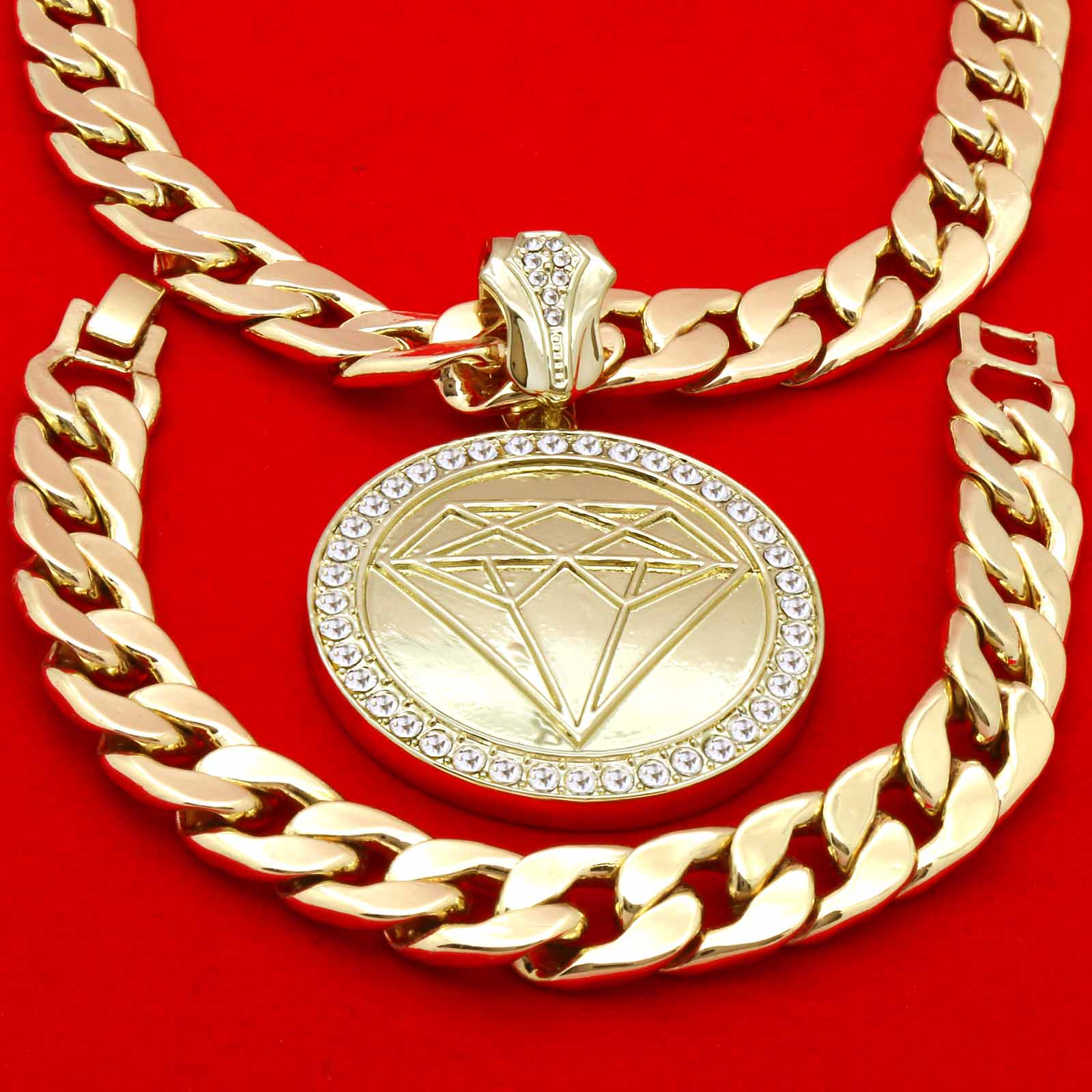 CUBAN CHAIN & BRACELET GOLD DIAMOND