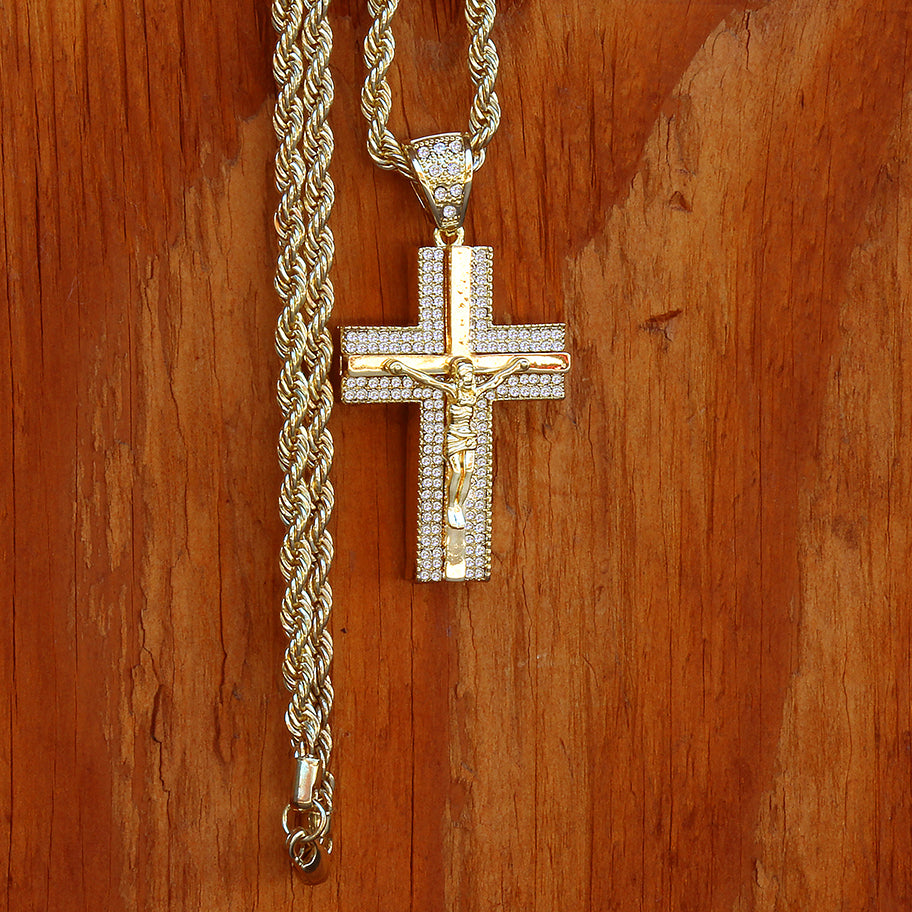 14k Gold Filled CZ Jesus Hang Cross Pendant with Rope Chain