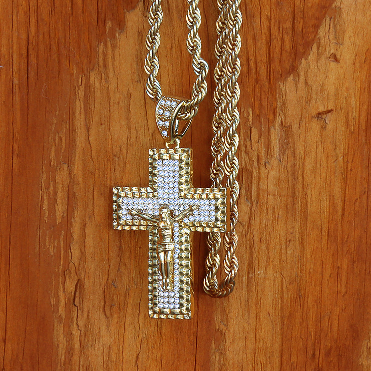14k Gold Filled CZ Jesus Hang Cross2 Pendant with Rope Chain