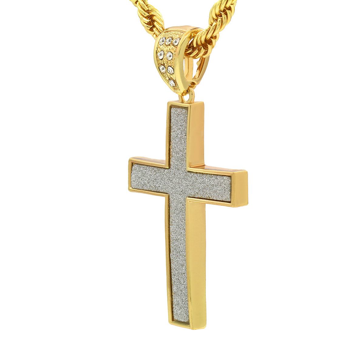 14k Gold Filled Stardust Cross Pendant 3 with Rope Chain