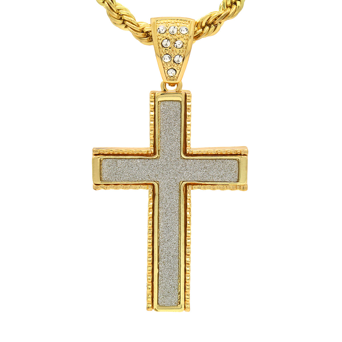 14k Gold Filled Stardust Blade Cross Pendant 4 with Rope Chain
